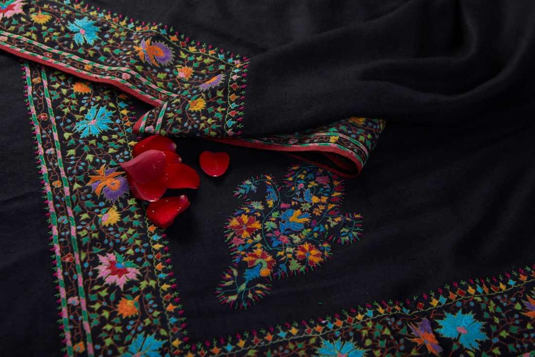 Pashmina Black shawl with border and konia