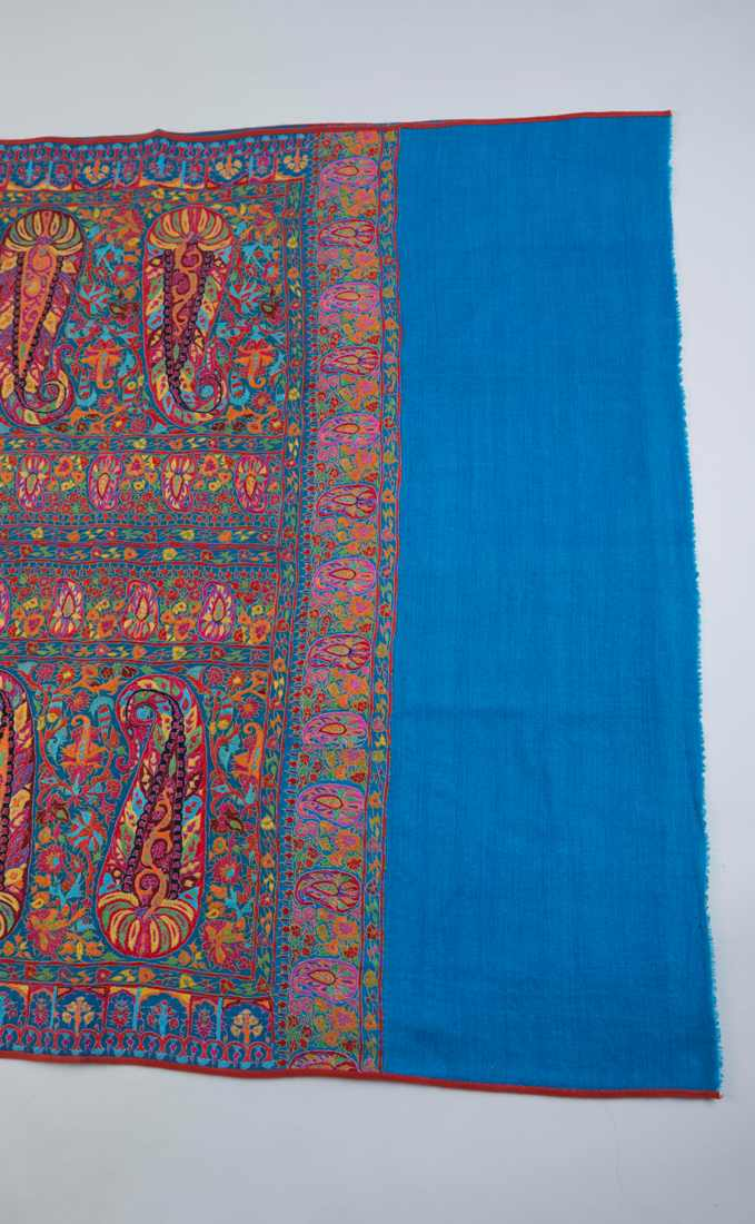 Pashmina Turquoise shawl l with multocolor jaal