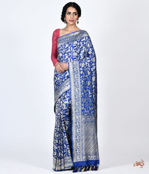 The Royal Shikargah Saree In Pure Katan Silk