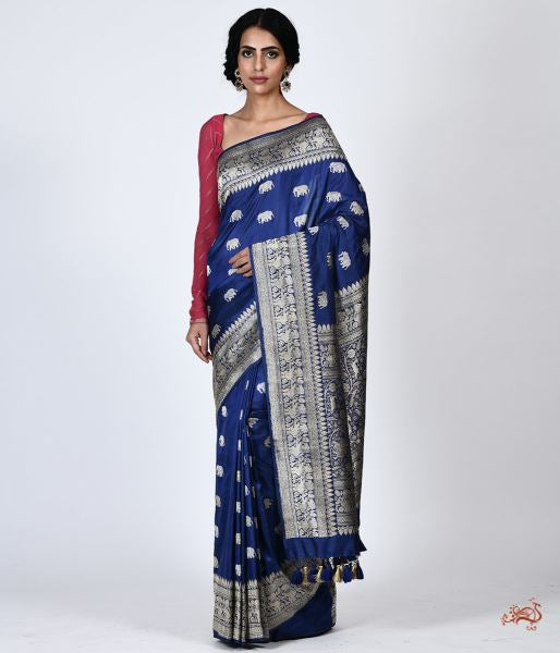Handwoven Katan Silk Saree With Shikargah Border Saree