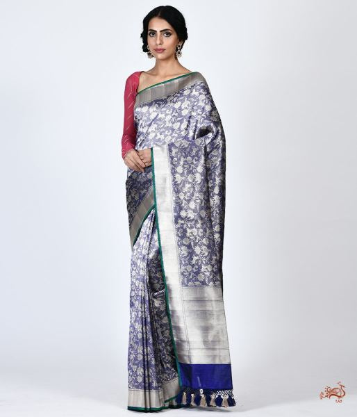Handwoven Shikargah Saree In Pure Katan Silk With Tissue Saree