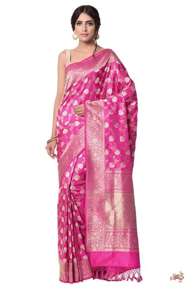 f2397d865895a Buy hot pink kadhwa banarasi jangla with silver flowers and golden ...