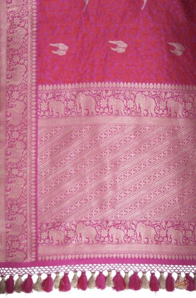Hot Pink Banarasi Tanchoi Saree With Beautiful Love Birds Woven In Dull Gold Zari And A Rich
