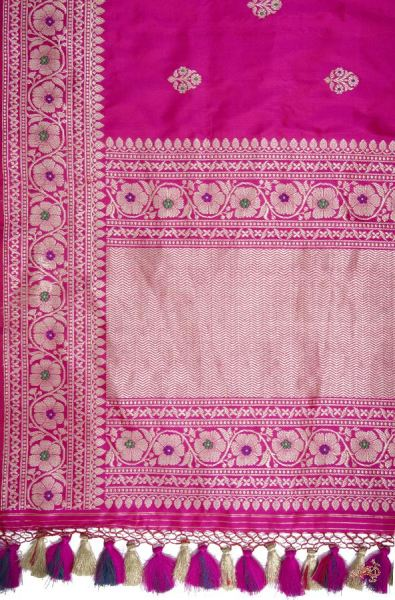 Hot Pink Katan Silk Saree With Delicate Floral Bootis Woven In Zari Meenakari Saree