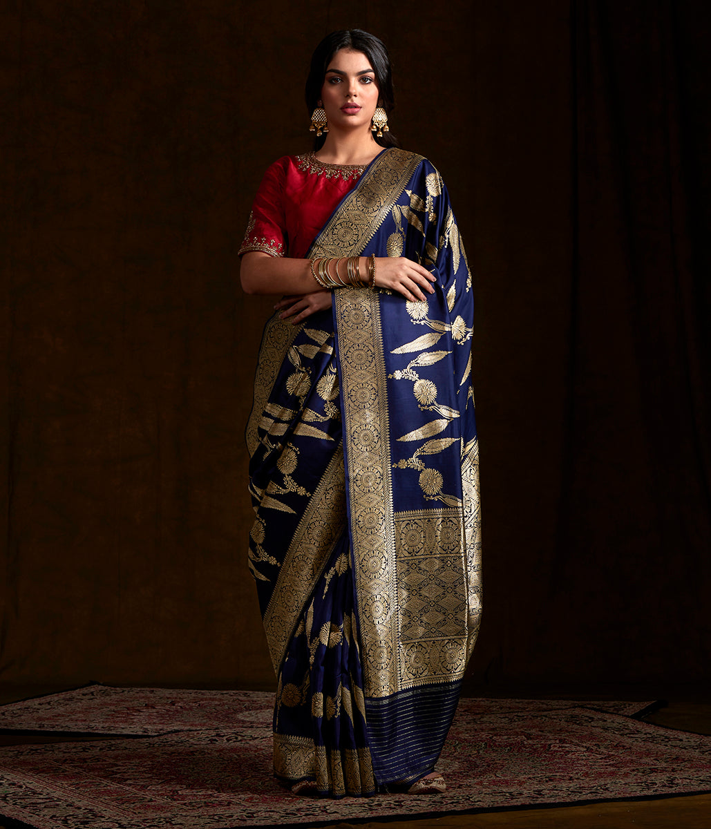 Dark Blue kadhwa jangla with intricate floral jaal