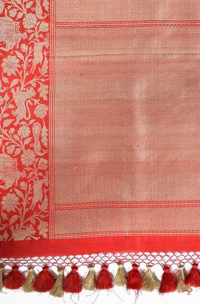 Red Katan Silk Saree With Shikargah Weave Saree