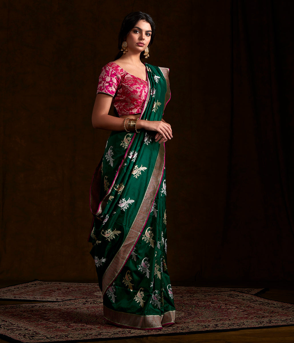 Bottle Green and Gold Kadhwa Banarasi Saree with Intricately Woven Peacock Motifs