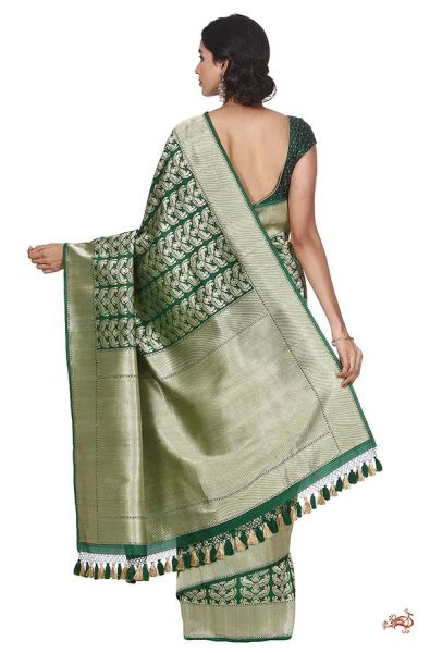 Green Ektara Kadhwa Saree With Parrots On Leaves Saree