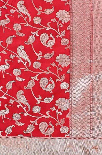 Red Cutwork Shikargah Jangla Saree Saree