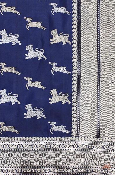 Navy Blue Shikargah Kadhwa Booti Saree With Deer And Lion Saree