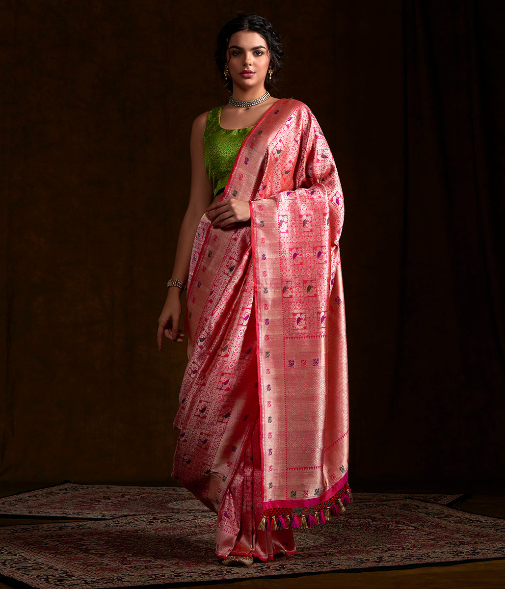 Pink and peach dual tone Kimkhab Saree with Rudraksh and Annapakshi Motifs