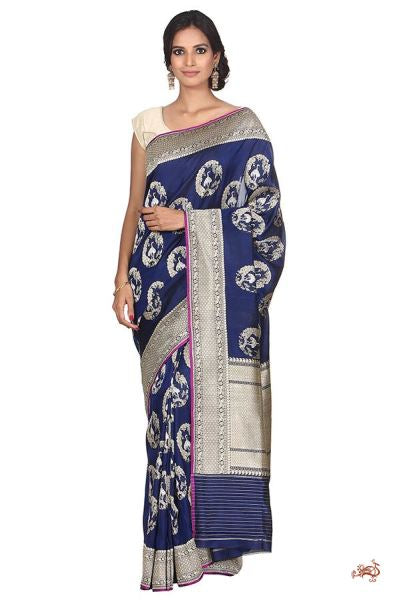 Handwoven Kadhwa Banarasi Saree In Deep Blue With Delicate Birds Saree