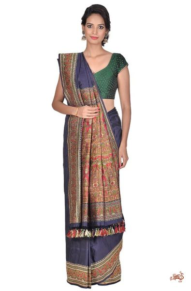 Navy Blue Valkalam Saree