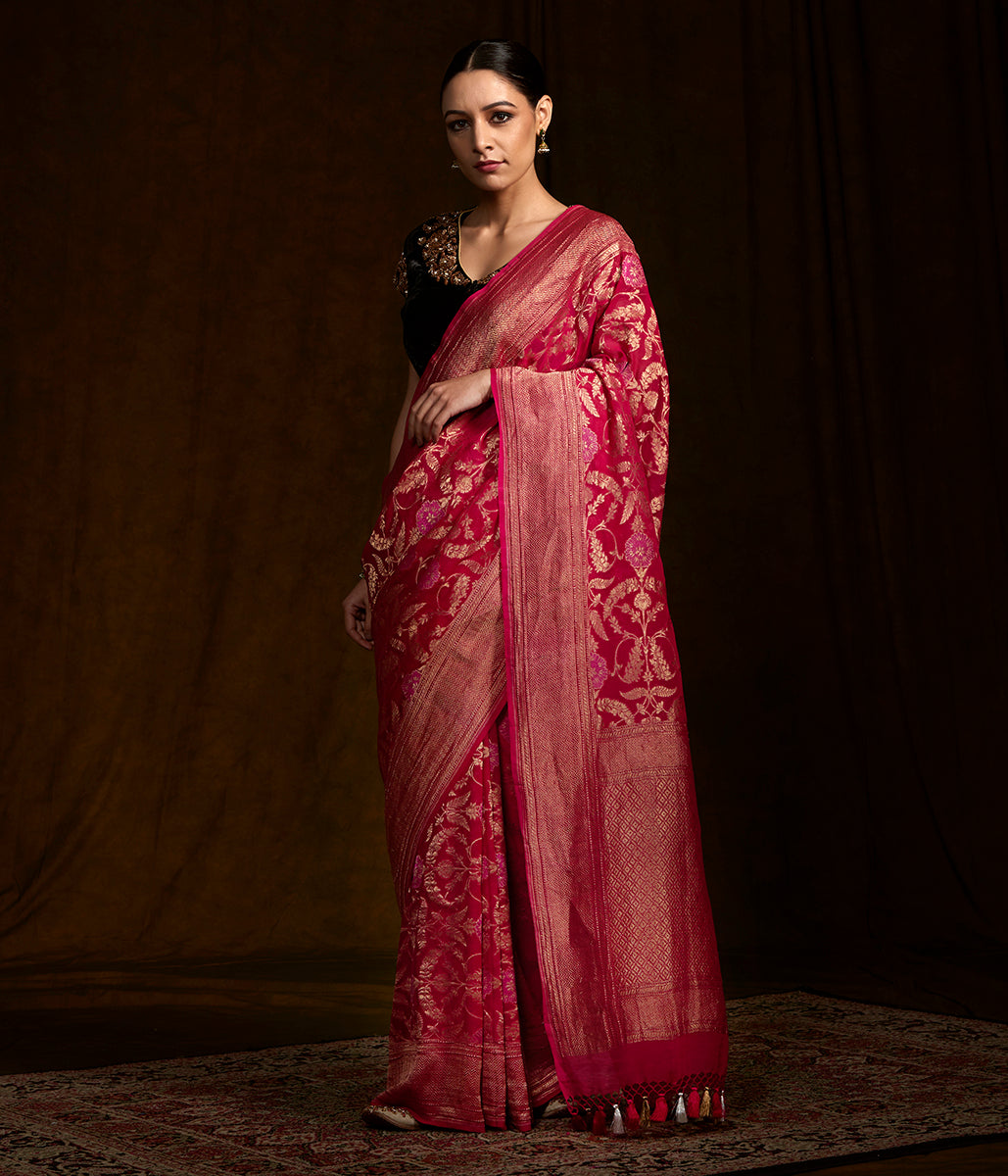 Handwoven pink banarasi jangla in antique zari