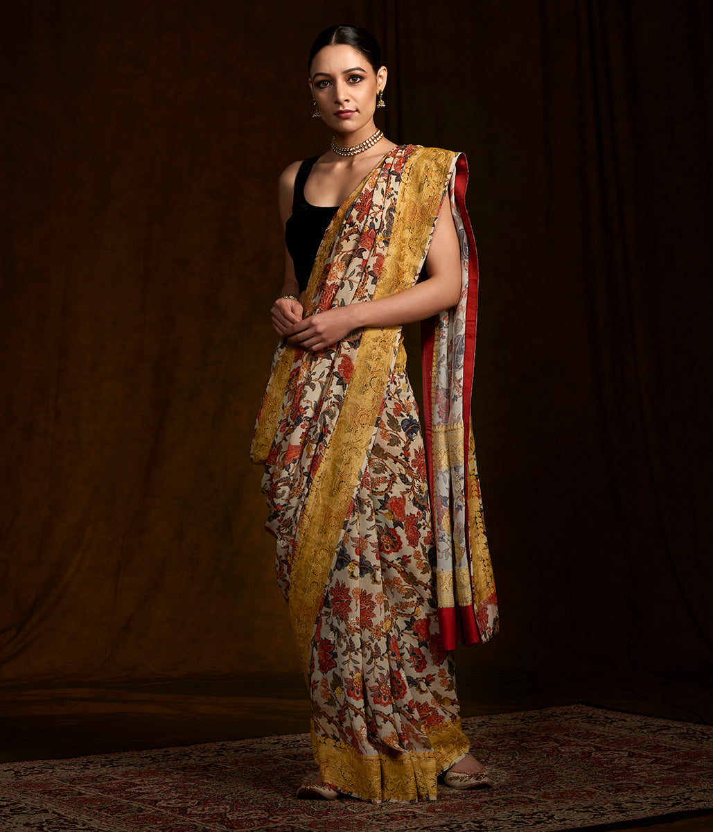 Beige banarasi georgette saree with digital printing