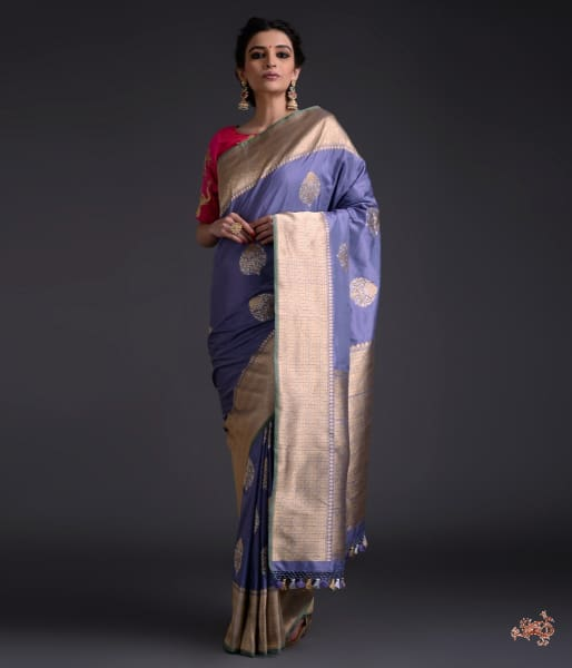 Grey lavender dual tone kadhwa boota saree with broad border