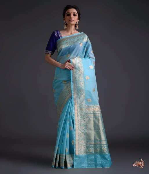 Light blue kadhwa kora with katan border