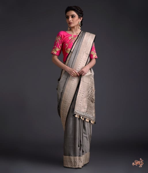 Black grey polka dots Tanchui saree