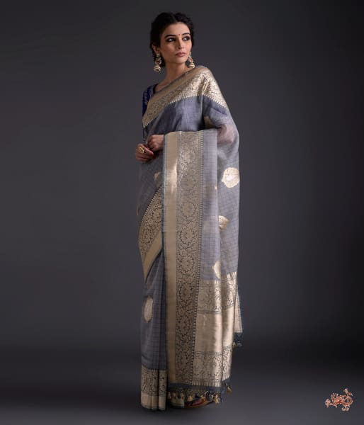 Grey Kora silk saree with checks and kadhwa boota