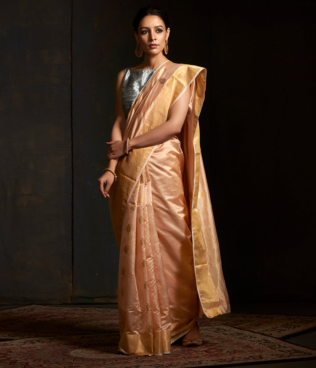 Handwoven Peach Chanderi silk saree with all over gold zari booti