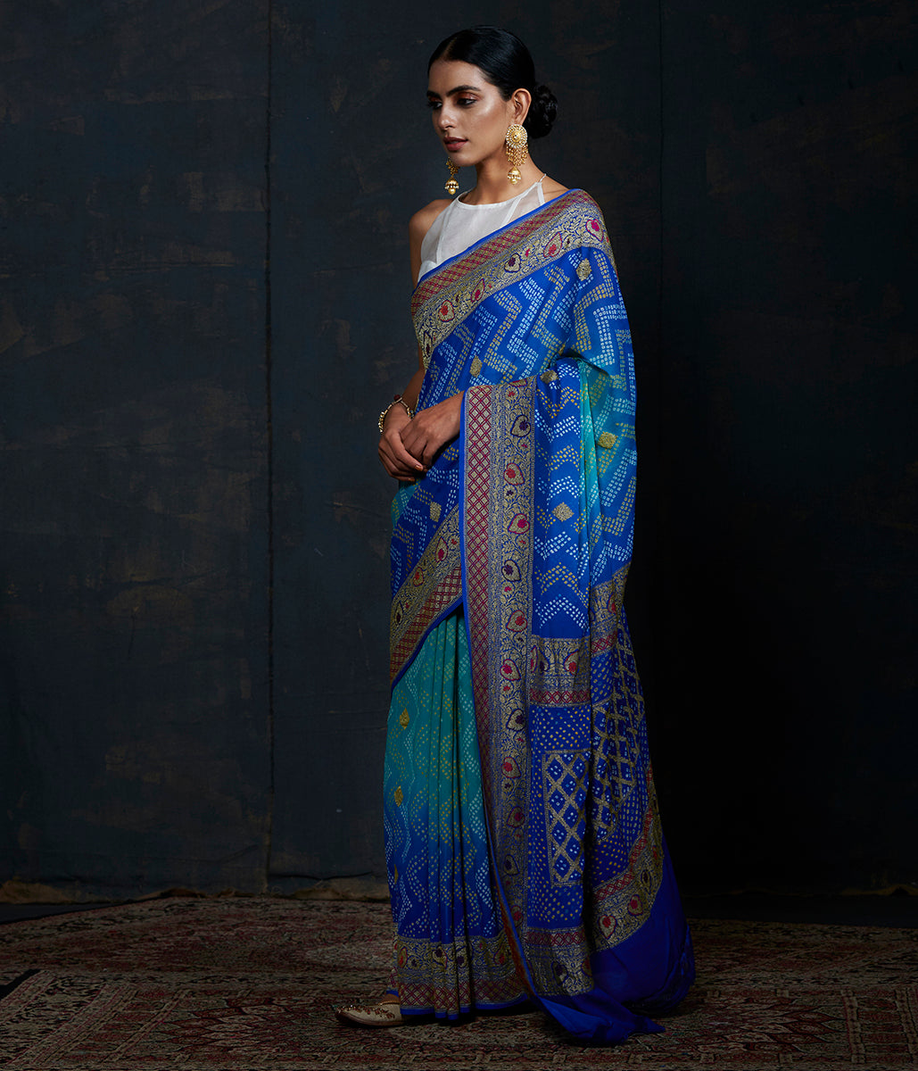 Blue Shaded Shikarpuri Banarasi Bandhej Saree with meenakari borders