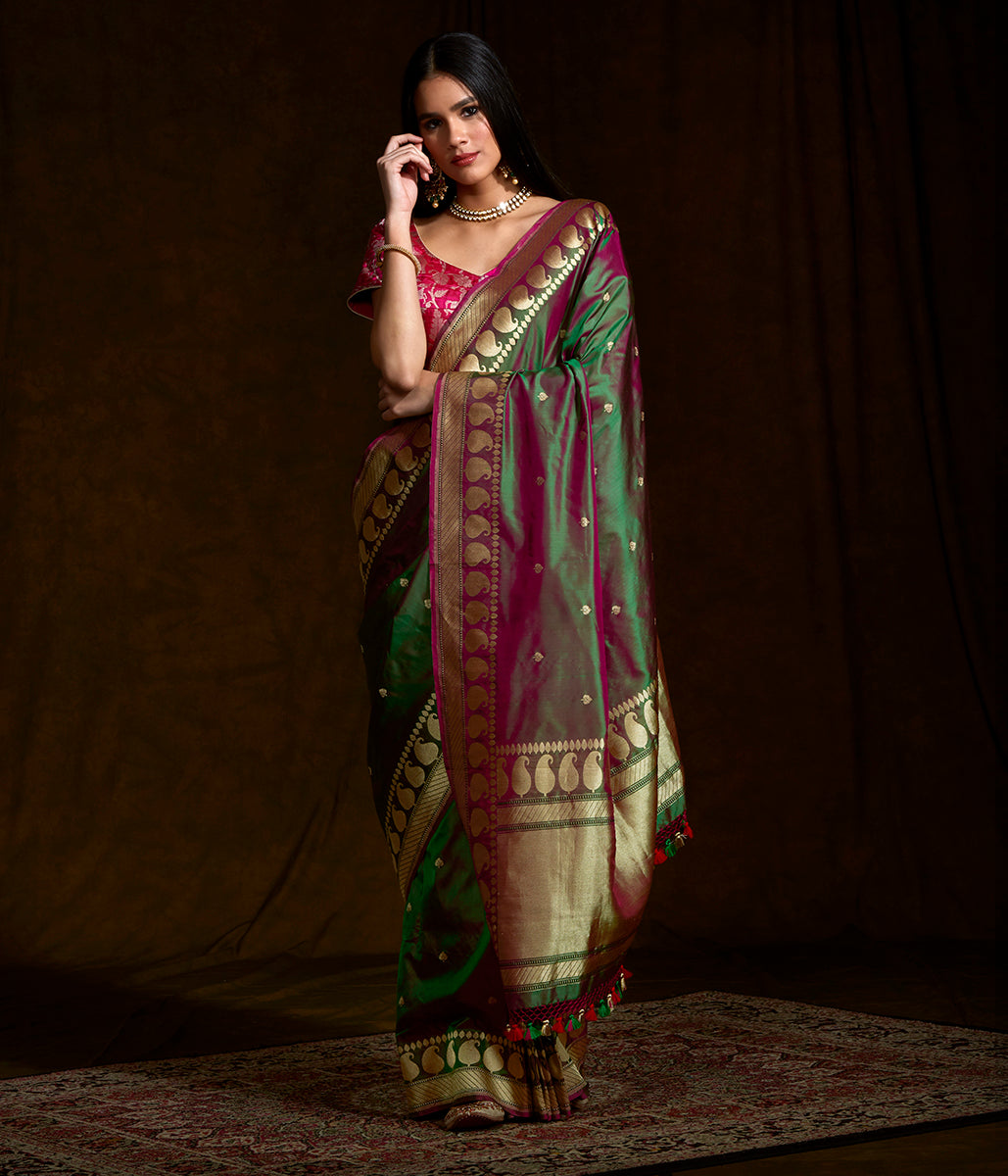 Green and purple dual tone saree with paisley border