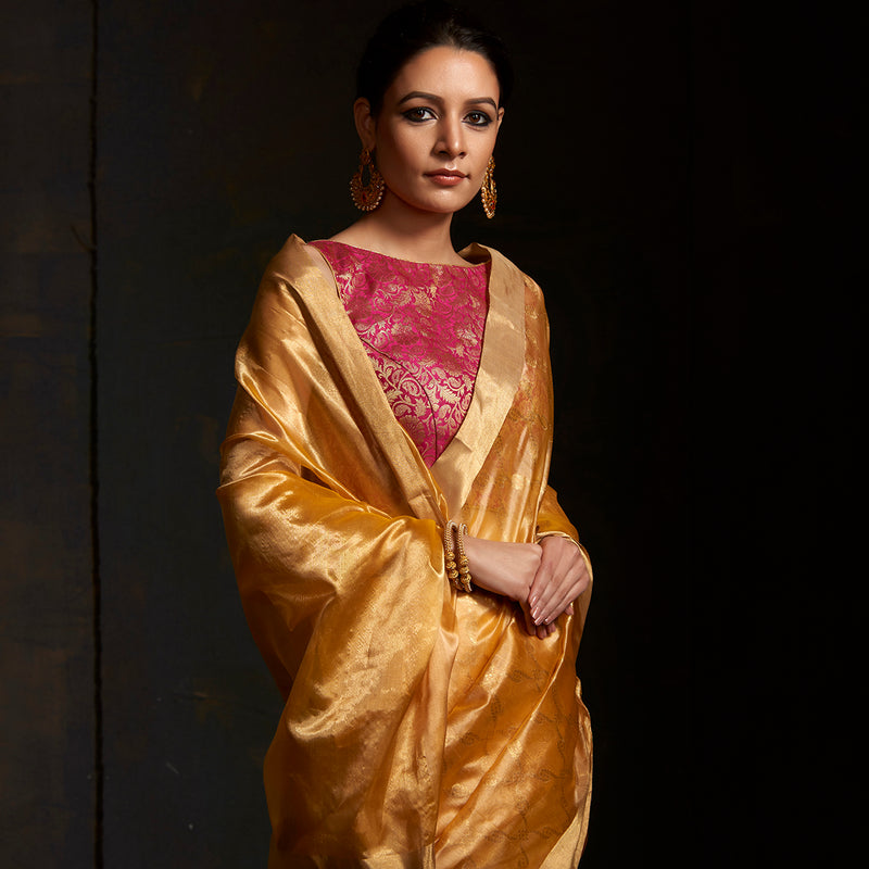 Mustard and Gold Chanderi silk saree with gold border