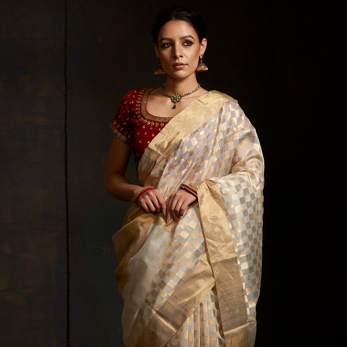 c33c7aca413 Handwoven Chanderi saree in Ivory and Gold