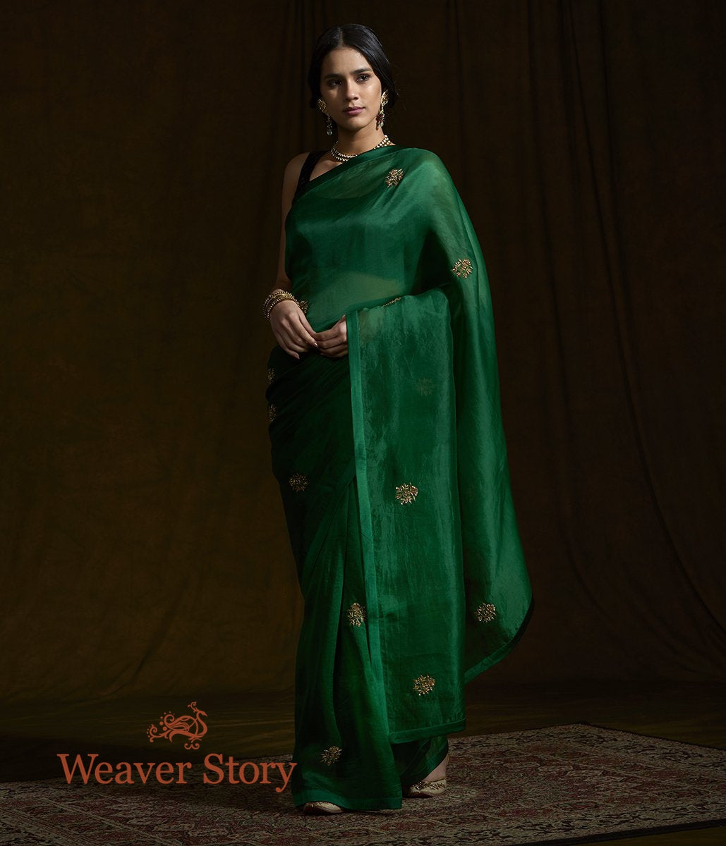 Green Organza Silk Saree with Zardozi Work
