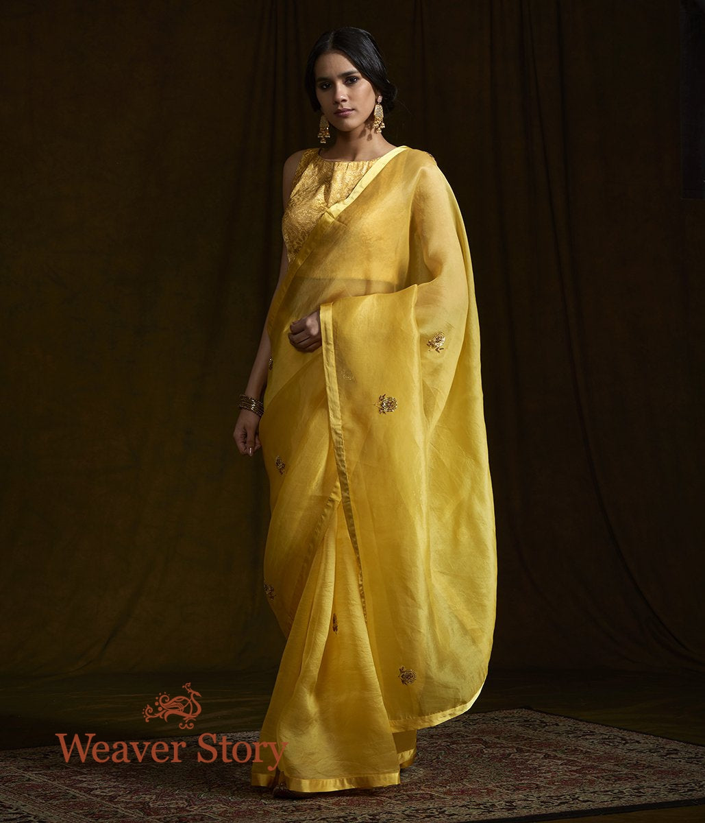 Yellow Organza Saree with Zardozi Work