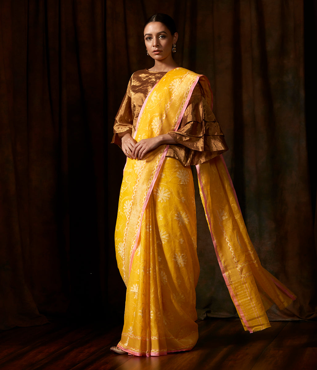 Handwoven cotton banarasi in yellow with all over floral jaal woven in jamdani weave
