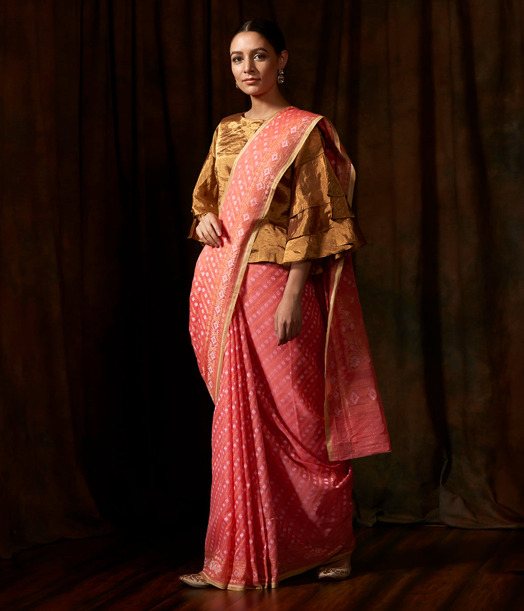 Handwoven cotton banarasi in peach with jamdani neelambari weave