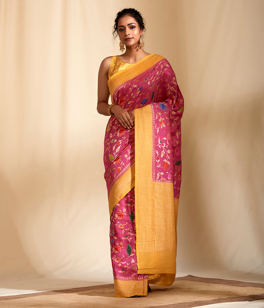 Handwoven Moonga silk saree with Meenakari jaal
