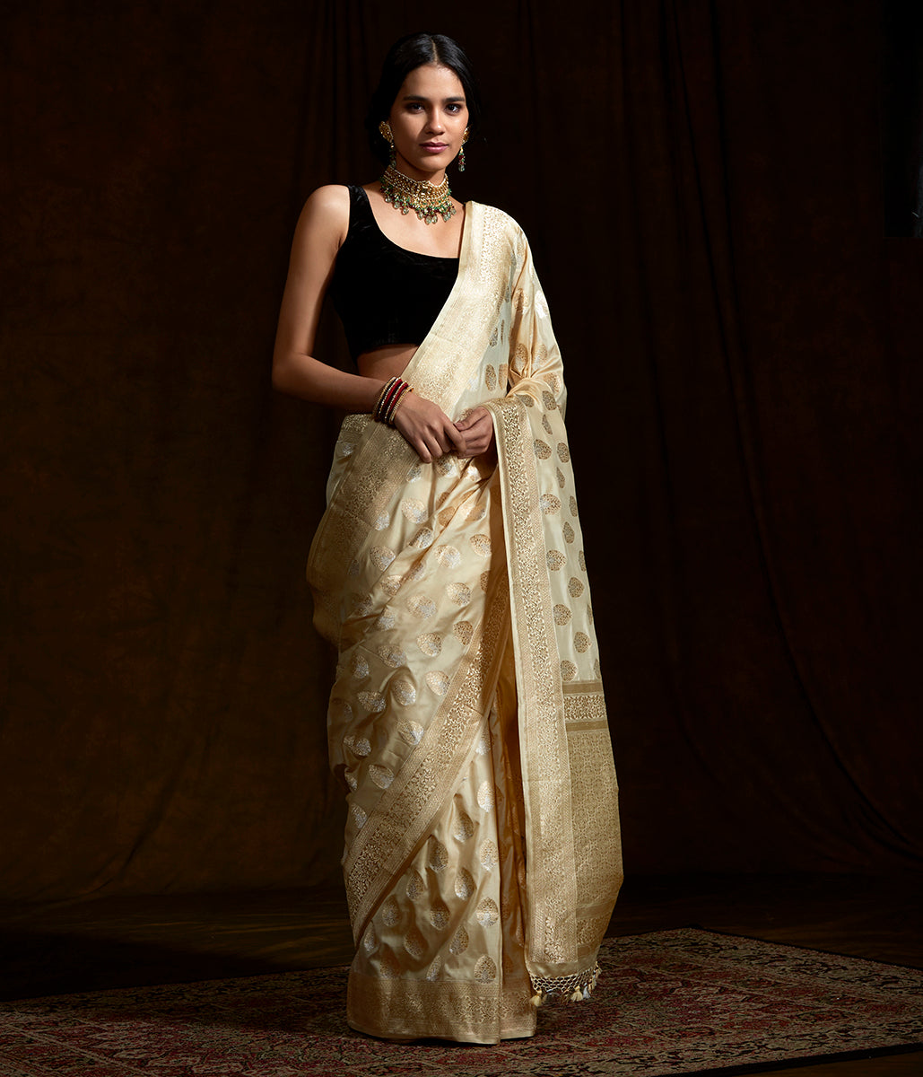 Offwhite Gold and Silver Cutwork Boota Saree woven in pure katan silk