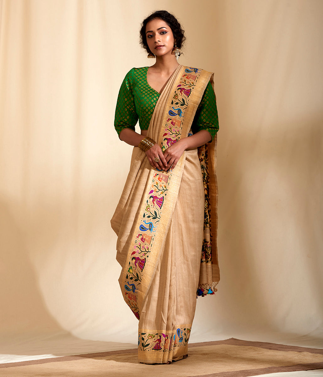 Handwoven tusser Georgette saree with human figurines and animal motifs
