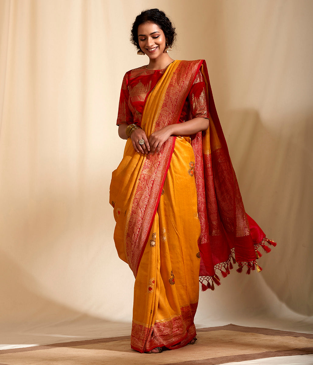 Mustard Tusser Georgette with Red Border