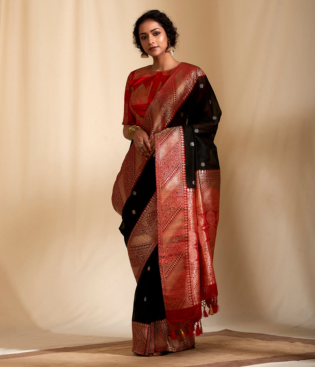 Black and red Banarasi linen saree with Kadhiyal Border