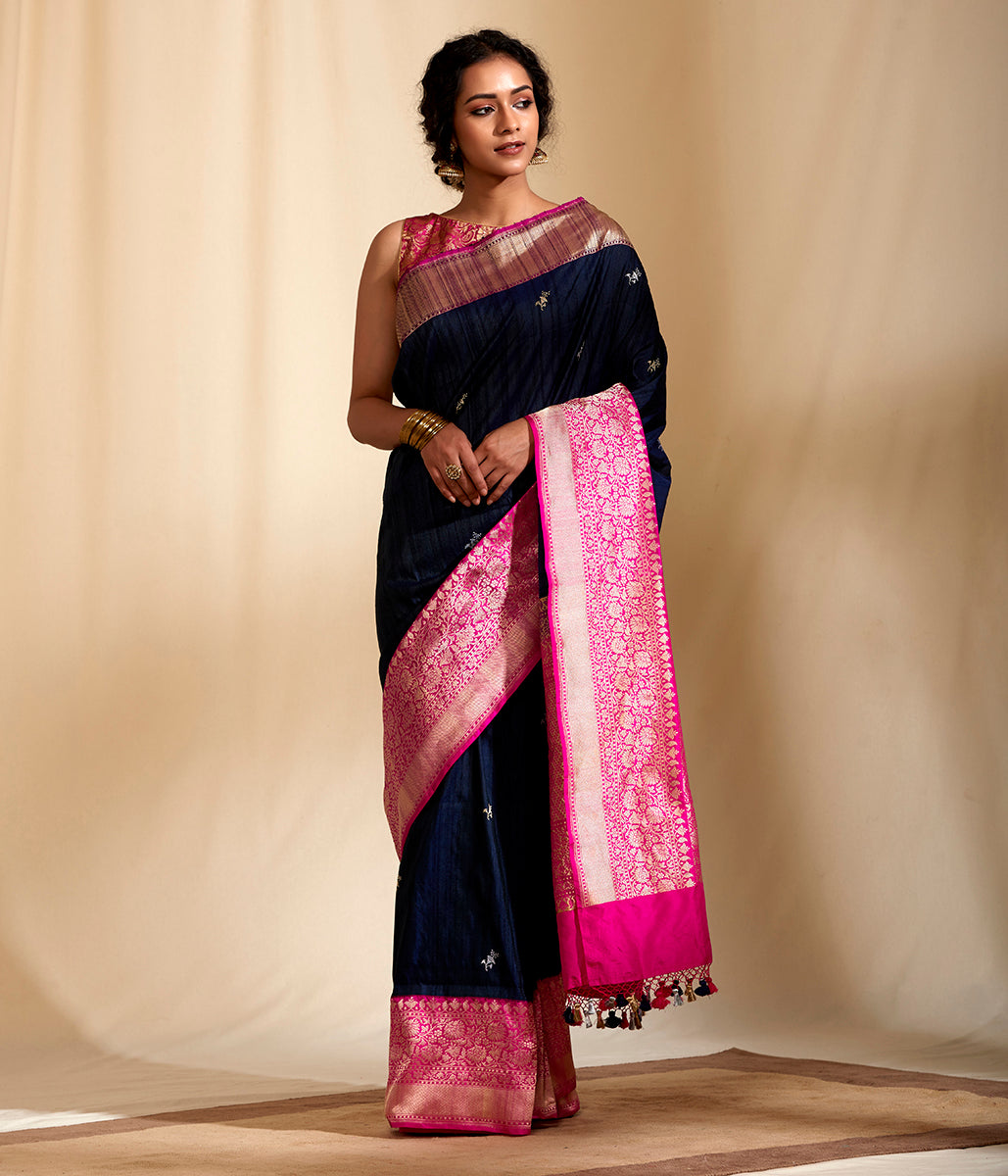Handwoven Banarasi tusser silk saree with a heavy silk border