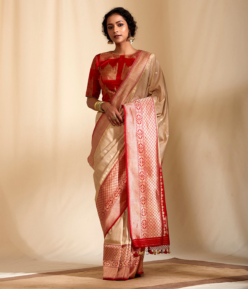 Handwoven banarasi dupion and tusser silk saree with contrast borders in red