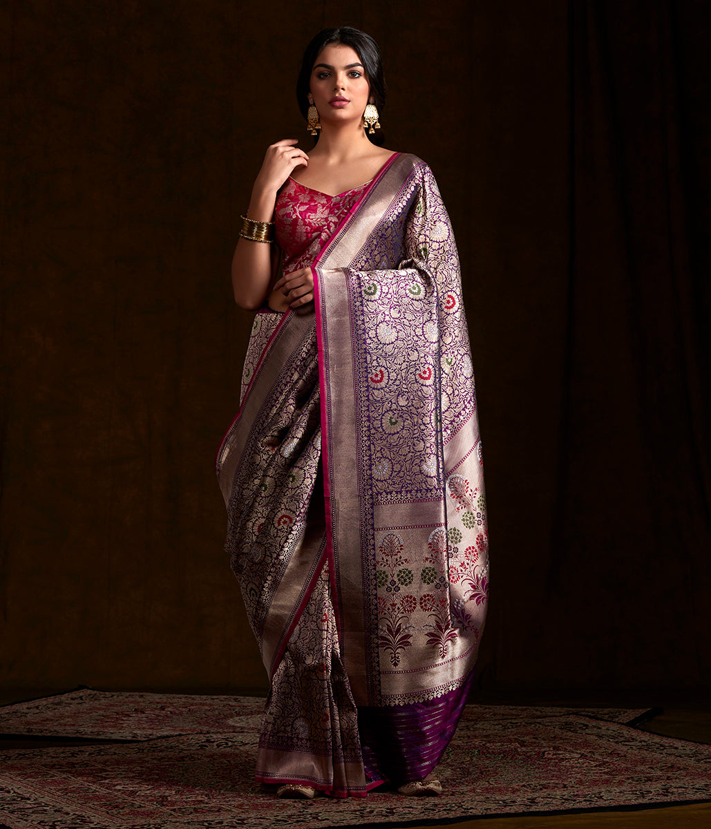 Purple katan silk broacde saree with meenakari