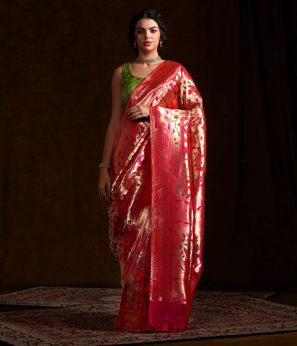 Handwoven Banarasi Paithani saree with meenakari