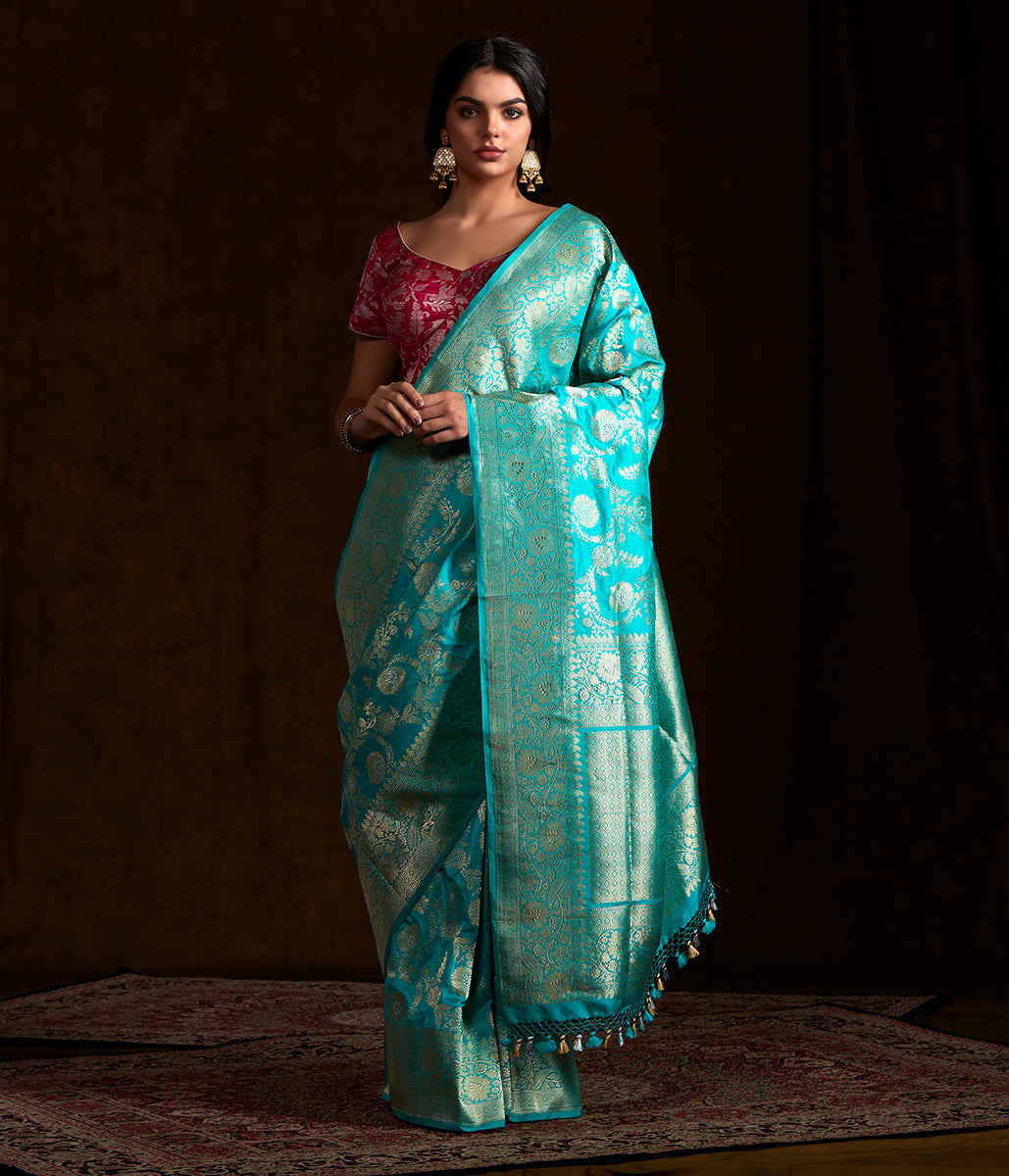 Light blue katan silk sona rupa kadhwa jangla