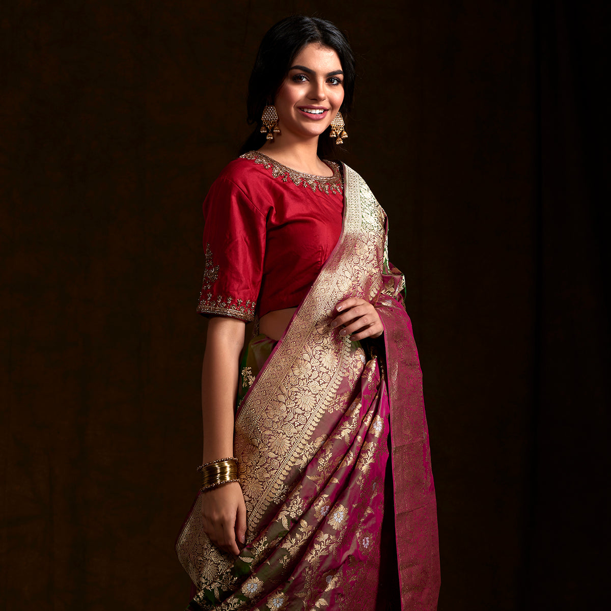 Purple and green dual tone sona rupa kadhwa saree with a floral jaal