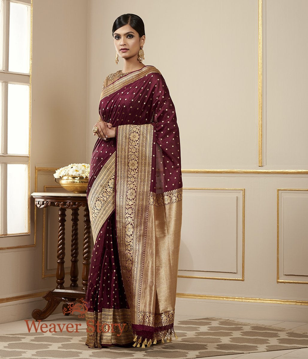 Handwoven Wine Zari Booti Saree with Kadhwa Border