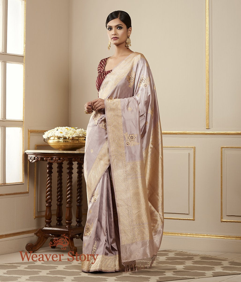 Handwoven Soft Mauve Kadhwa Boota Saree with Meenakari