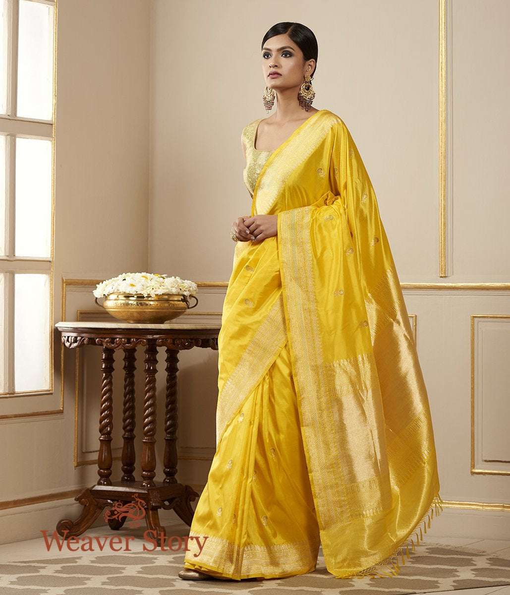 Handwoven Bright Yellow Floral Meenakari Booti Saree