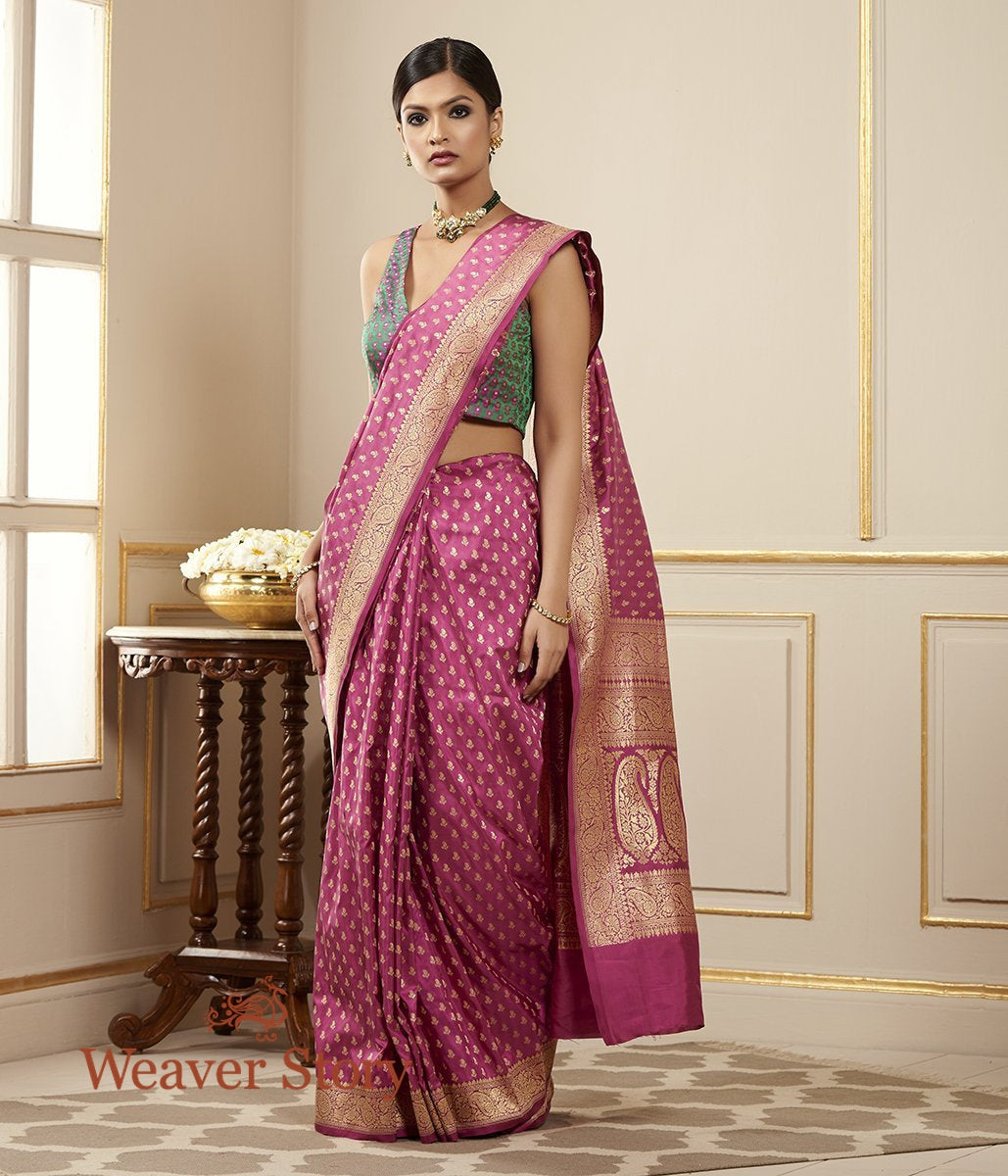 Handwoven Rose Pink Pure Silk Saree with Paisley Booti