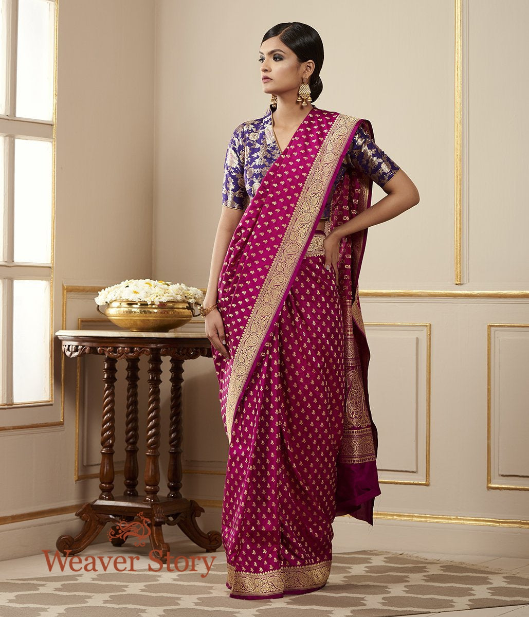 Handwoven Wine Pure Silk Saree with Paisley Booti