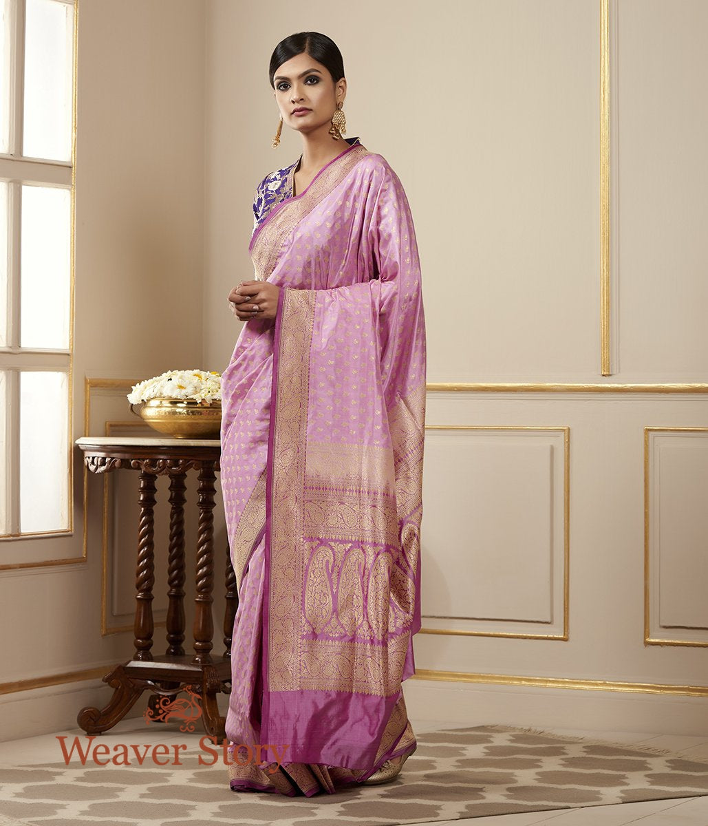 Handwoven Lilac Pure Silk Saree with Paisley Booti