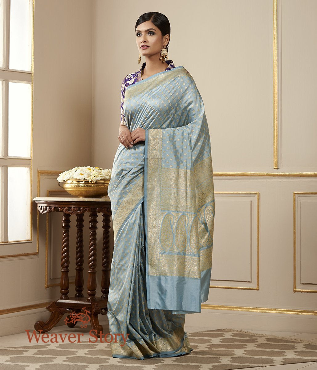 Handwoven Light Blue Pure Silk Saree with Paisley Booti